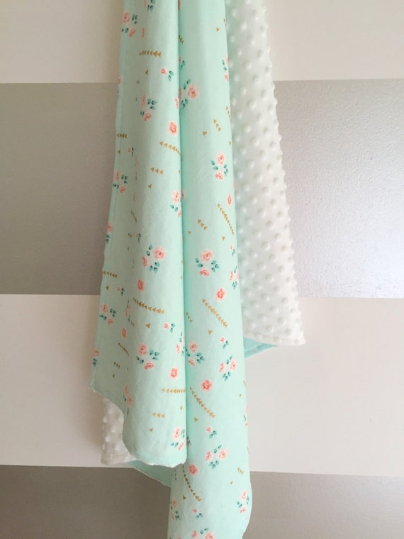 Mint nursery triangles : Coral gold mint peach floral fabric