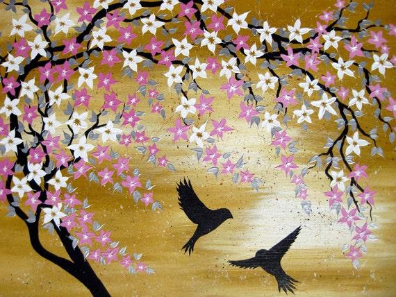 Peinture de fleurs de Cerisier japonais avec tan beige et