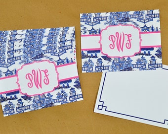 Monogrammed Personalized Chinoiserie Flat Note Cards