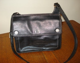 Kenneth Cole Reaction all leather shoulder handbag roomy deep charcoal excellent vintage pre-owned