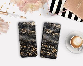 Elegant Black & Gold Marble Phone Case / Vinyl Skin for iPhone 6s , iPhone 6s Plus , iPhone 7 , iPhone 7 Plus , Galaxy S7