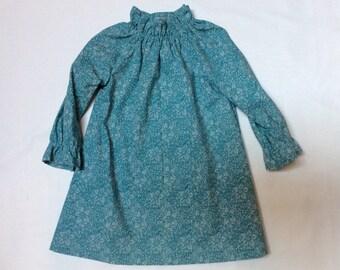 Lovely blue floral handmade girls dress