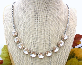 FLIRTINI 12mm Swarovski Crystal Necklace, Light Silk, Neutral Simple and Elegant, Siggy Jewelry, Gift For Her, FREE SHIPPING