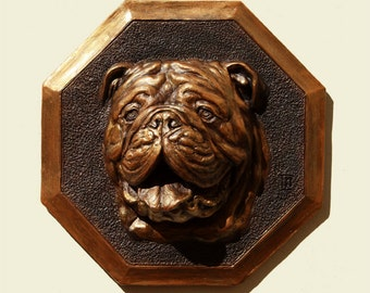 Hand patinated bronze color English Bulldog dog Bulldog anglais Englische Bulldogge PERITAS wall sculpture statue fine art relief painting