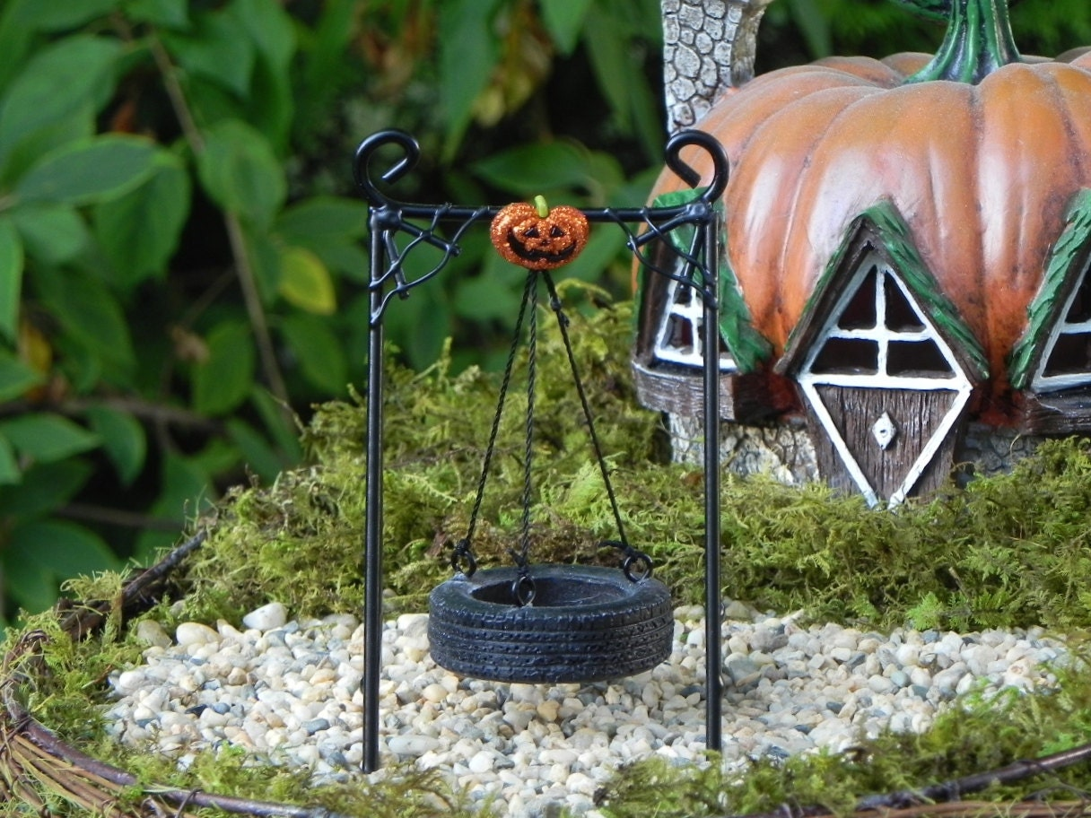 miniature tire swing fairy garden accessories halloween jack o