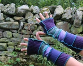 Upcycled Armwarmers made from recycled wool knitwear, Katwise style. Purple, Turquoise Green. OOAK. Handmade in UK