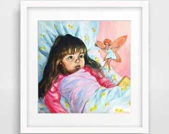 Little Girl and a Fairy ORIGINAL miniature painting artist Maria Payes gift for girl acrylic miniature fine art gift idea kids child