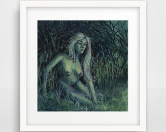 Nude Forest Girl Glow in Dark paint ORIGINAL miniature painting artist Maria Payes UV Nude 6x6 gloss gift for him acrylic mini fine art