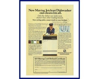 MAYTAG JETCLEAN DISHWASHER Original 1978 Vintage Color Print Ad - Almond-Colored Appliance with Iconic Maytag Repairman in Uniform