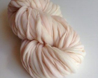 Handspun Thick and Thin Merino Yarn - 50 yds Blush Pink