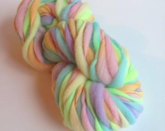 Handspun Thick and Thin Merino Wool Yarn - 50 yards - Easter Egg