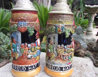 German Beer Steins Auch Die Freud Hat Ihre Zeit with Metal Lids set of Two