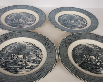 Royal China Currier and Ives Dinner Plates - Set of 4