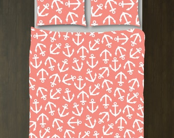 Anchor Bedding Set-Duvet Cover-Shams-Coral-White-Custom Colors-Daybed-Twin/Twin XL-Full/Queen-King Size-Nautical Bedroom Decor-Teen Room