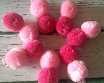 Pom pom clips, hair clips, hair accessories, pink clips