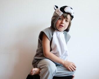 Raccoon Costume, Raccoon Halloween Costume, Party Costume in Black and White, Halloween Costume for Boys or Girls, Toddler Costume, Woodland
