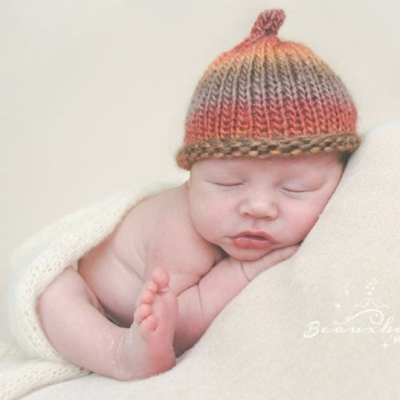 Knitting Pattern Umbilical Cord Hat : Newborn knitted baby hat umbilical cord elf by TheYarnOwlsNest