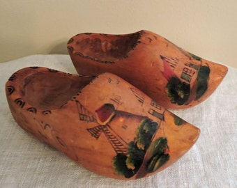 Wood Dutch Shoes Made in Holland Wooden Dutch Shoes Hand Carved for Wall Hanging