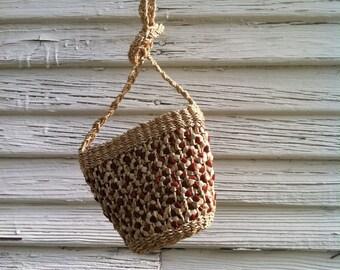 Small Woven Crossbody Purse / Cherry Red & Tan Woven Purse /