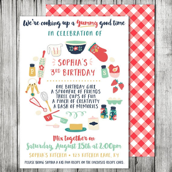 Kids Cooking Birthday Party Invitation Baking