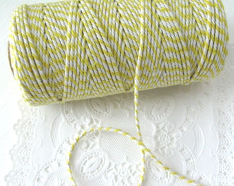 SALE ~ 100 Yard Spool Yellow and White Baker's Twine | Yellow Cotton Twine | Bright Yellow Twine | Bright Yellow Baker's Twine