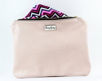 Carnation Pink Italian Leather Clutch - Chevron Lined Leather Clutch - Pink Italian Leather Bag - Pink Leather Clutch - Pink Italian Bag