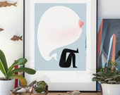 Babilon. Real men sometimes cry. Illustration art giclée print signed by the artist. A2 poster.