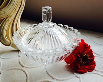 Vintage Glass Sugar Bowl with Lid, Candy Dish, Art Deco