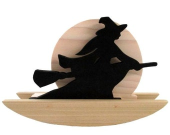 Rocking Witch - Halloween - Halloween Witch - Flying Witch - Halloween Decor - Wood Witch - Witch and Full Moon - Wood Work - Weeze Mace