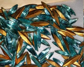 Vintage Aquamarine Czech Glass Gold Foiled Back Navette Rhinestones 15x4mm