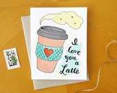 I Love You a Latte Card: Sweet Latte Coffee Drink Valentine Card with Kraft Envelope