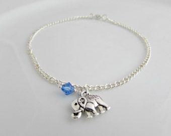 Elephant Anklet, Birthstone Anklet, Bridesmaid Gifts, Gift for Girls, UK Seller, Silver Anklet, Birthstone Jewellery, Elephant Jewellery