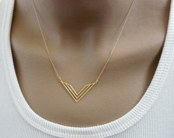 Chevron necklace, Geometric necklace, Chevron jewelry, Gold chevron, Gold necklace, V necklace, Geometric jewelry, Layering necklace