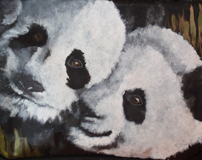 Featured listing image: Cooler - 'Ben and Bob' two Giant Pandas painted on cooler