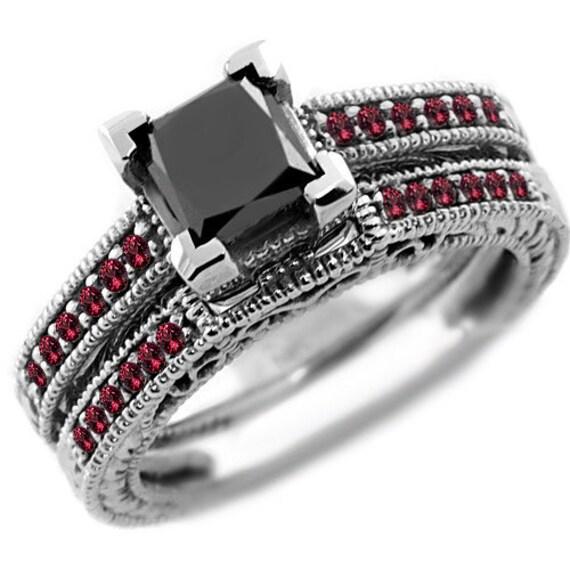 1 54ct Princess Black Diamond & Red Ruby Engagement Wedding