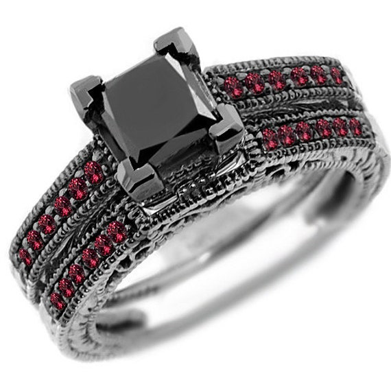 1 75ct Princess Black Diamond & Red Ruby Engagement Ring Set