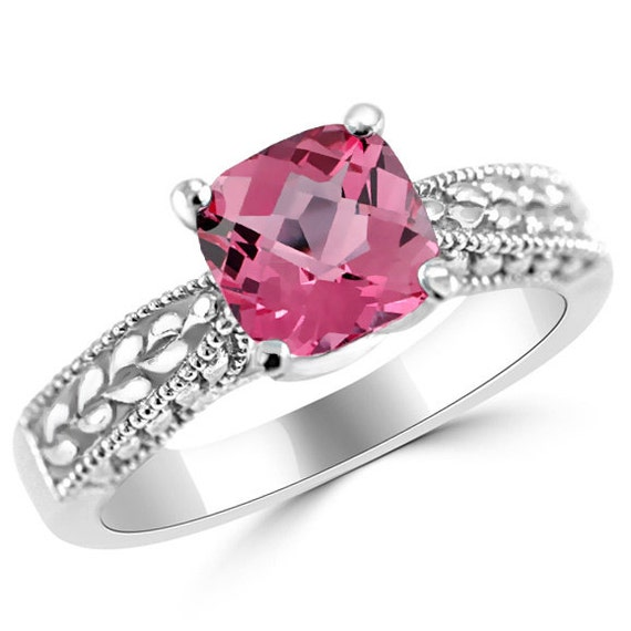 1 00ct princess pink topaz solitaire engagement ring 14k white