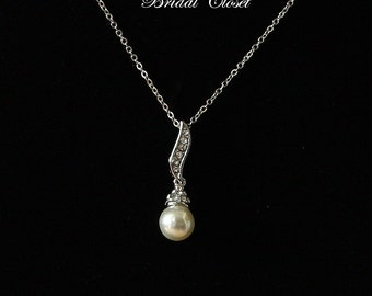 Pearl Pendant, Brides Necklace, Wedding Jewelry, Bridesmaid Necklace, Bridesmaid Gift, Necklace