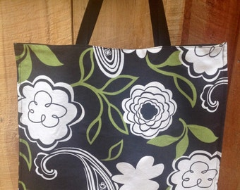 Large Reversible Tote / Stripes / Floral / Paisley/ Heavy Dury Fabric