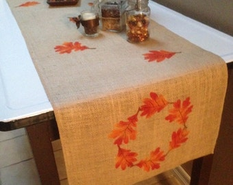 """Burlap Table Runner 12"""", 14"""" or 15"""" wide with a leaf border & leaves scattered around - Longer - Holiday decorating Fall runner Thanksgiving"""