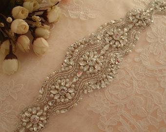 Beaded rhinestone applique for wedding belt , bridal sash