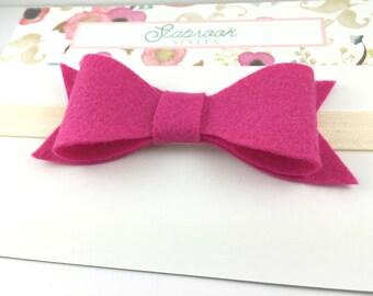 Hot Pink Felt Bow + Ivory Elastic Headband