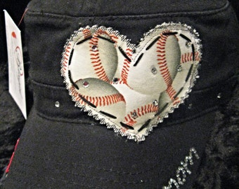 Baseball Mom Patchwork and Crystal Cadet Style Cap