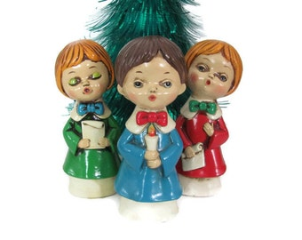 Vintage Christmas Carolers, 1960's Paper Mache Caroler, Choir Boy Figurines, 1960's Christmas Decor, Holiday Decorations, Mid Century