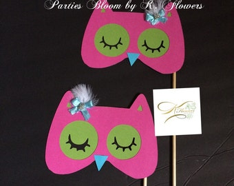 Owl Theme Photo Prop/Woodland Photo Booth Props (Set of 2)