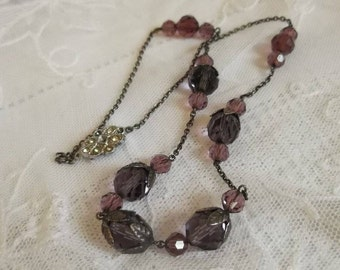 Vintage Art Deco Silver Czech Amethyst Crystal Glass Necklace Leaf Bead Caps