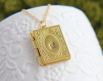 SALE, Personalized Locket, Initial Locket Necklace, Book Locket Pendant, Initial Jewelry, Book Necklace,Personalized Jewelry,Graduation Gift