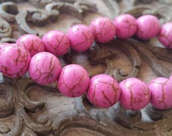 10mm Pink Howlite Turquoise Round Beads,  full strand. 30 pcs