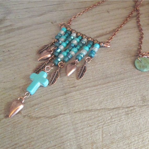 Beaded Necklace, Copper Necklace, Turquoise Necklace, Gypsy Style Necklace