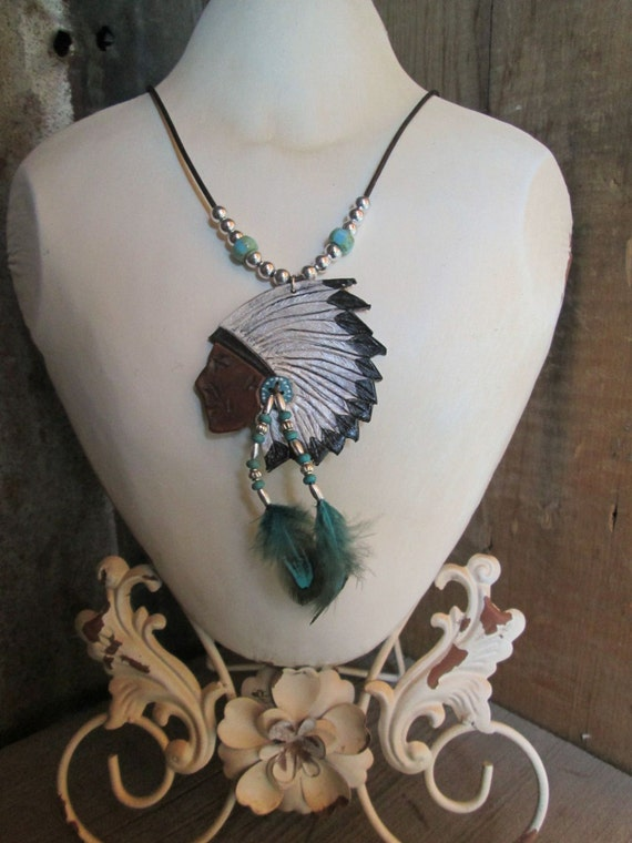 Leather Necklace, Leather Pendant, Native American Necklace, Indian Chief Necklace,
